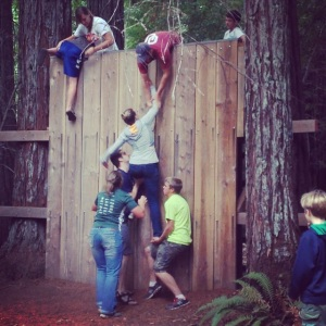 My siblings and me team-climbing this wall!