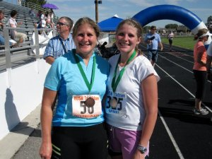Mom & I at the finish line of my first triathlon
